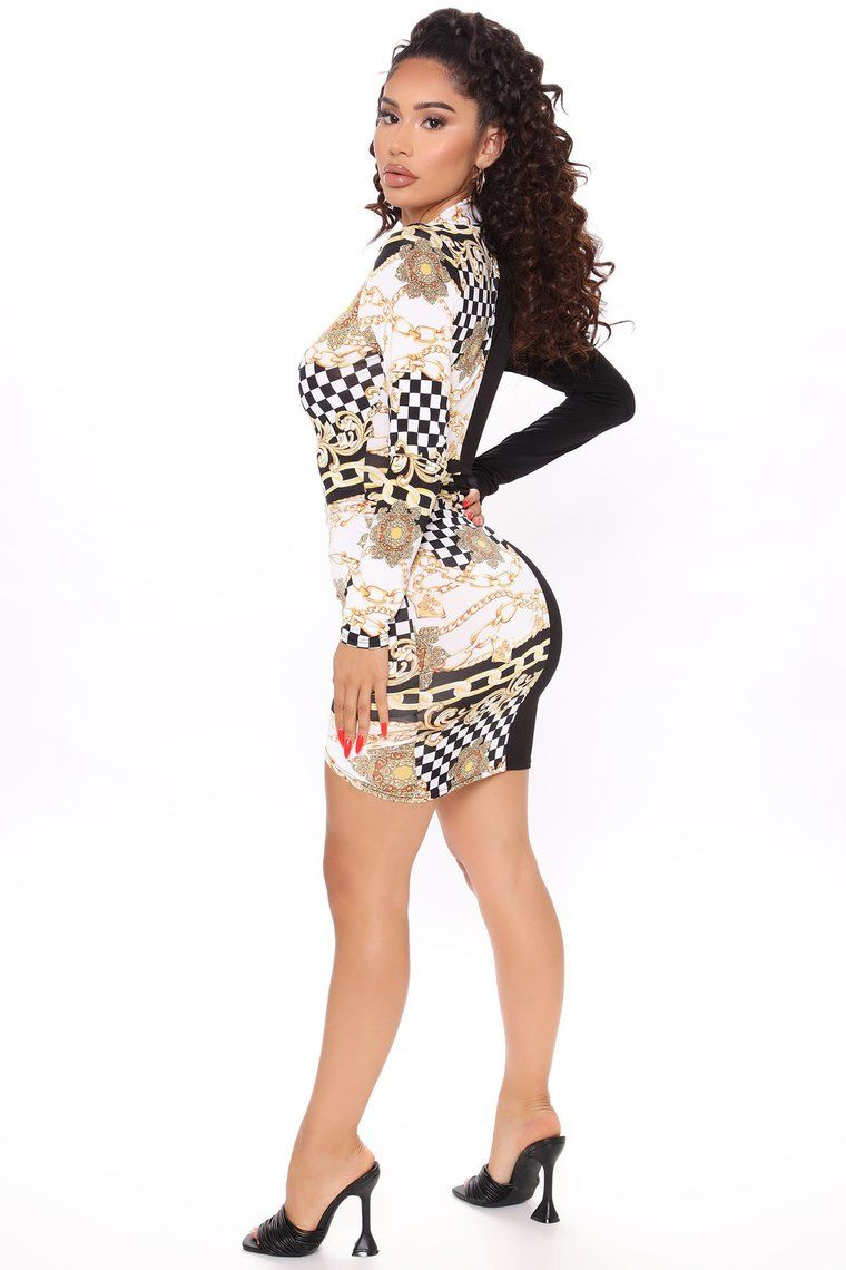 Combo Print Peplum Dress