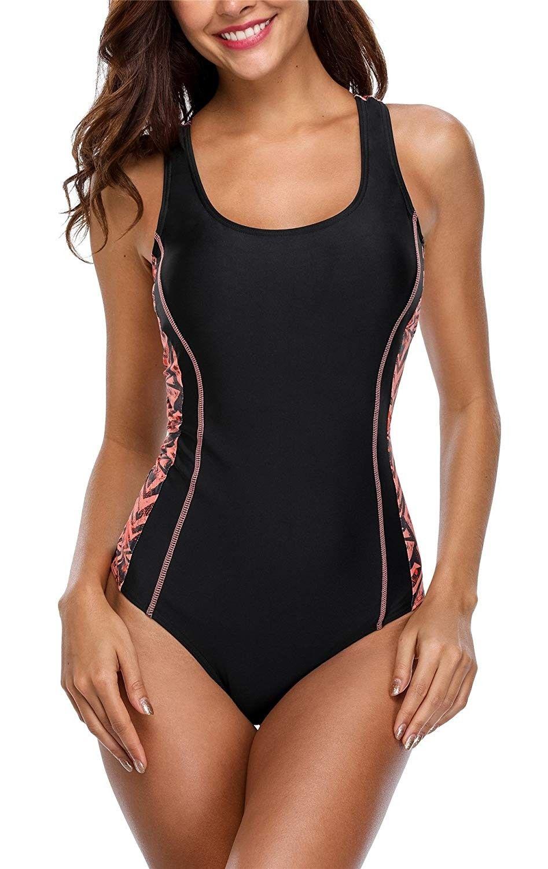 Women's Athletic One Piece Swimsuit Racing Racerback Swimwear - Black1 - CV18DWEM70K - Sports & Fitn...