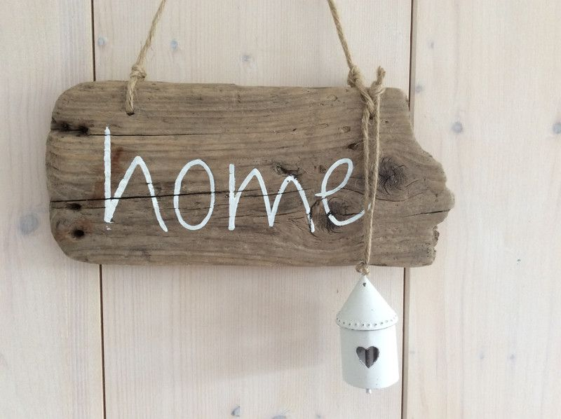 Tür- & Namensschilder - home - Treibholzschild mit Glocke - ein… #herbstdekoeingangsbereichdraussen