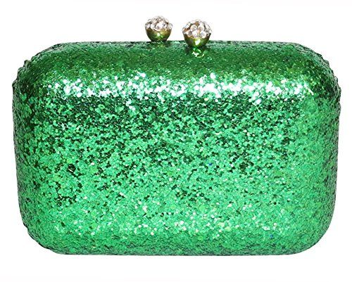 Chicastic Glitter Confetti Sparkle Mini Cocktail Wedding Clutch Purse - Green