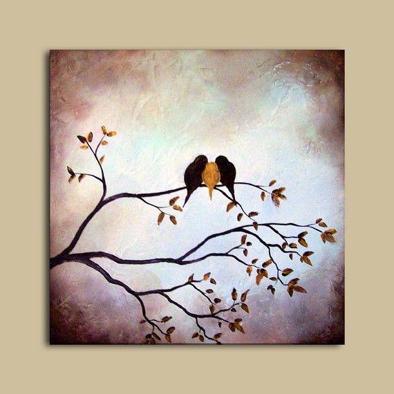Original Textured Painting - Three Birds on Tree Branch