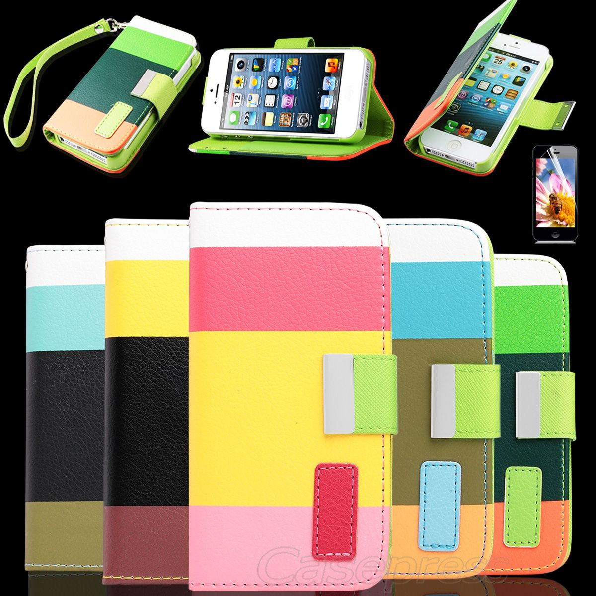 Flip Leather Pouch Case Cover w/ Credit Card Wallet For Apple iPhone 5 5th