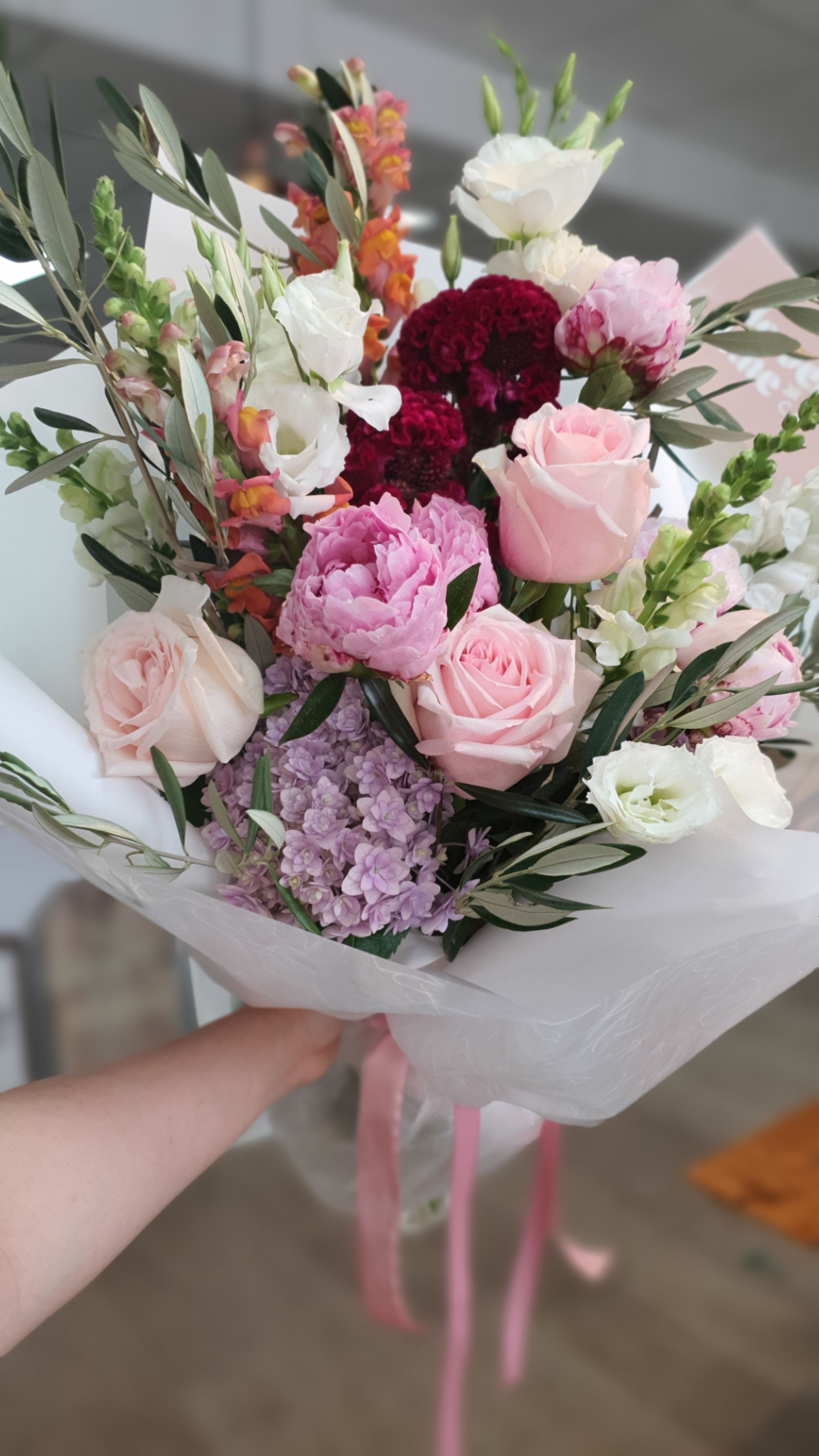 Bright bouquet flower arrangement peony hydrangea