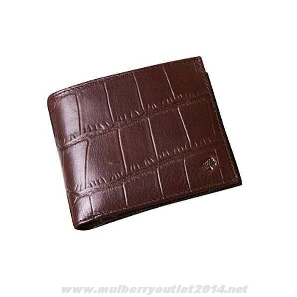 24f87e7aea5 Authentic Mulberry Mens Printed Leather 8 Card Coin Wallet Dark Coffee On  Sale