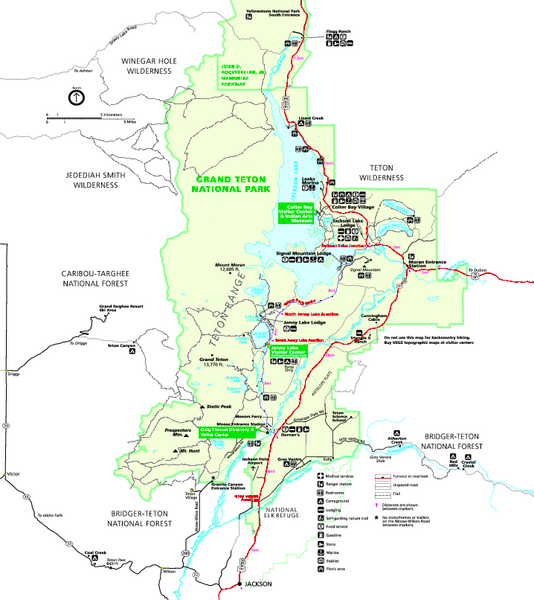 Grand Teton National Park Map - Summer | Yellowstone et al | Grand on california road map detailed, wyoming road map detailed, alaska road map detailed,