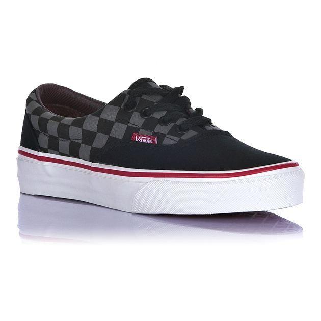 black checkerboard shoes
