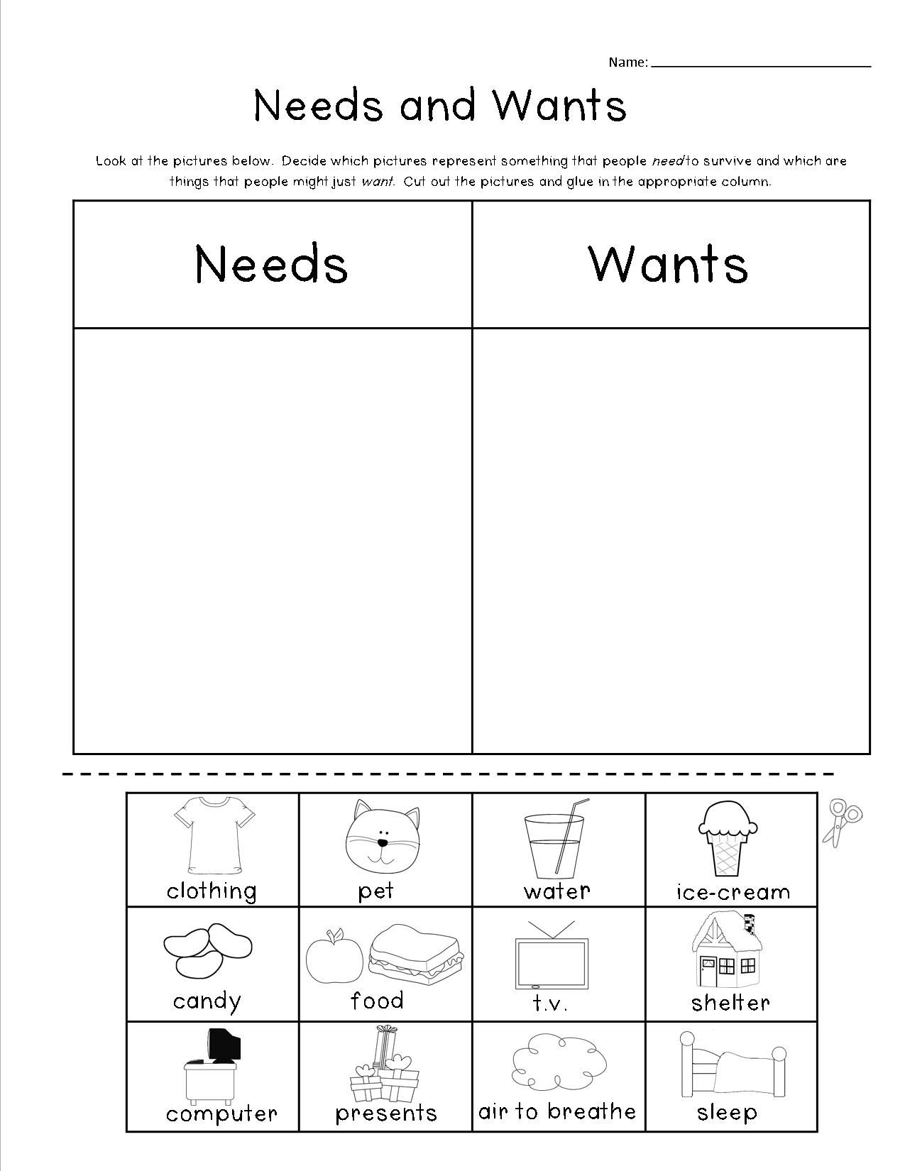 Worksheets Wants And Needs Worksheet Cheatslist Free