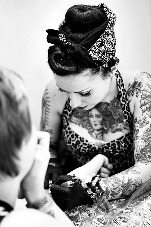 respect. women tattoo artists. She can tattoo me anytime. a women's touch is awesome. I think anyway.