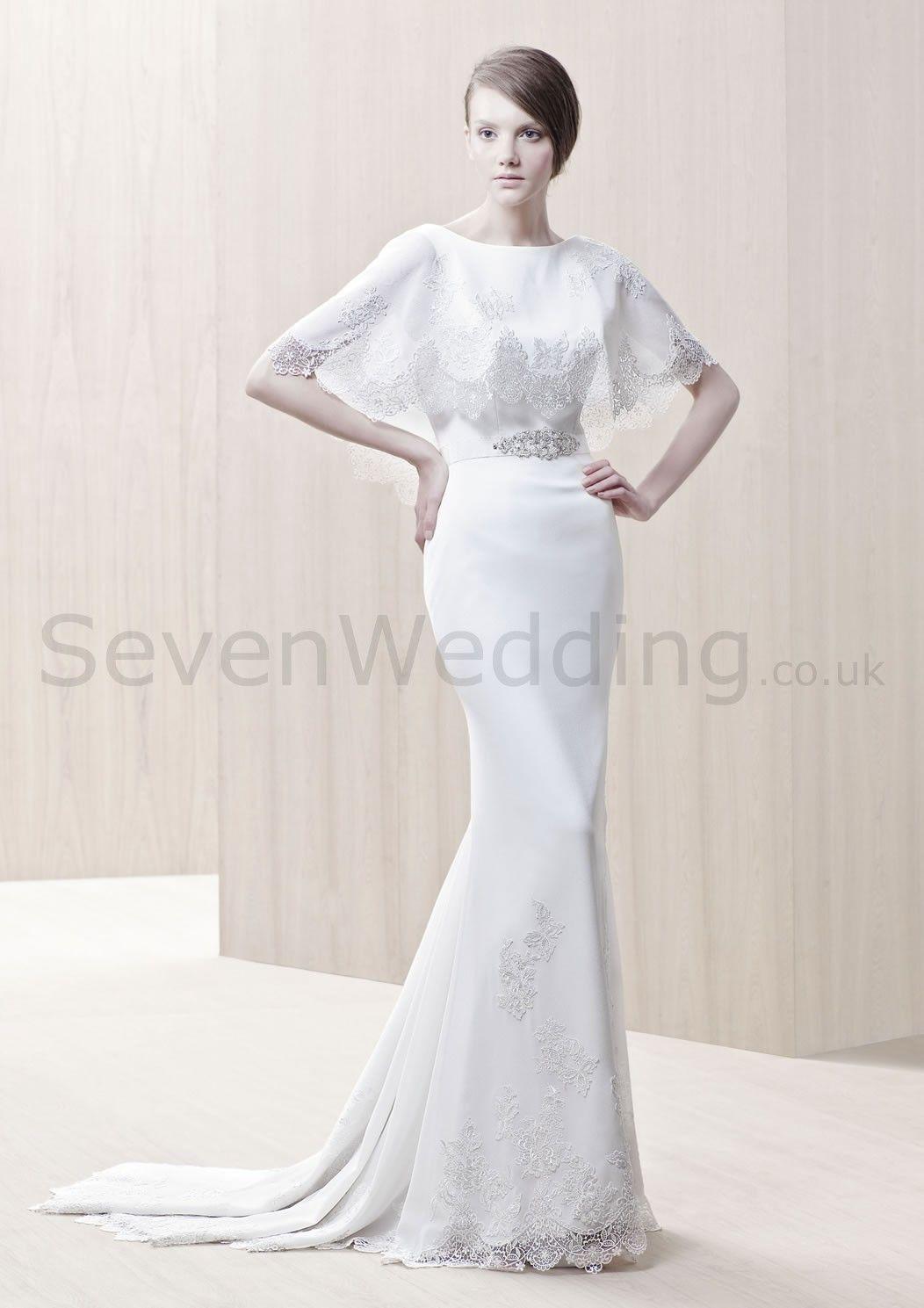 Chiffon low vback scalloped hemlace shealth wedding dress