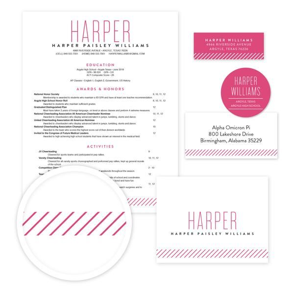 Big Name Sorority Packet   Our complete sorority packets include - Sorority Resume