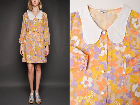 78e429f4276 Vintage 60s Floral Mod Groovy Day Dress By Sears by NewmanHall