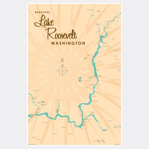 lake roosevelt washington map Lake Roosevelt Washington Paper Print Map Art Metal Signs Map lake roosevelt washington map