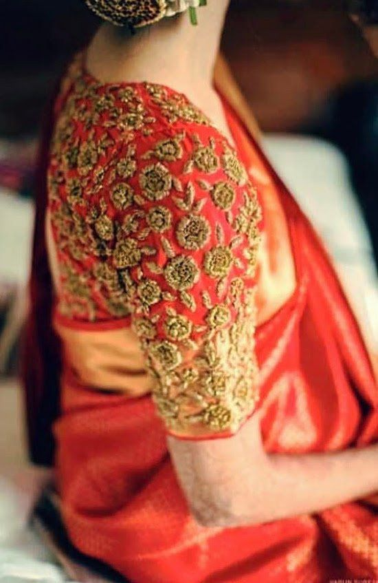 aa45c64748264f 22. Red Pattu Saree Blouse With Golden Embroidery | Blouse designs ...