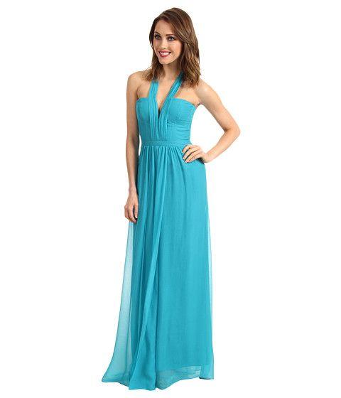 BCBGMAXAZRIA Starr Deep V-Neck Silk Halter Dress Blue Jade - Zappos ...