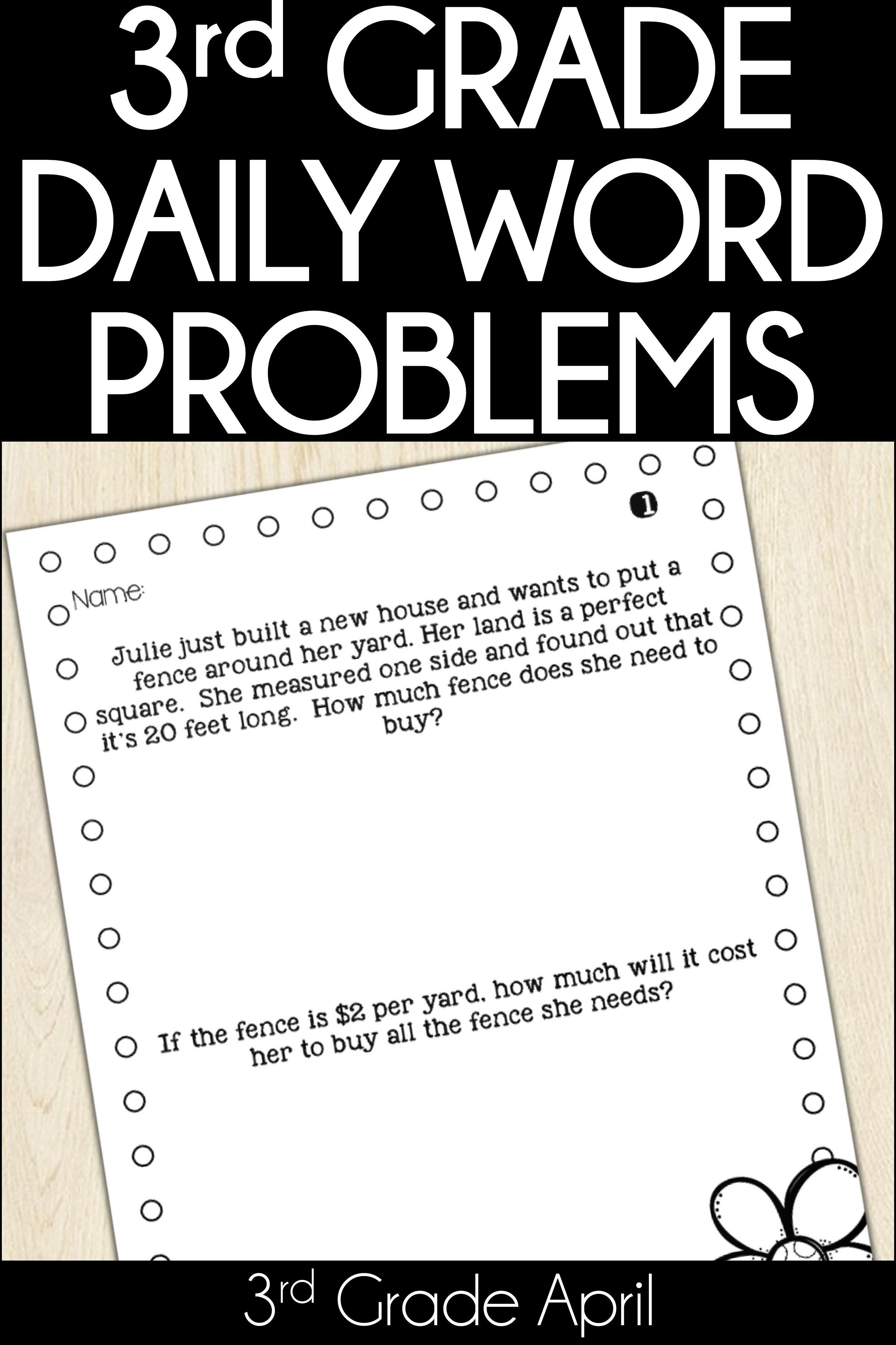 3rd Grade Word Problem Of The Day Story Problems April
