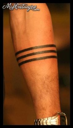 Simple Three Line Band Tattoo Design For Forearm Band Tattoo