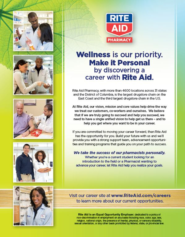 rite aid pharmacy wellness if our priority make it personal by discovering a career