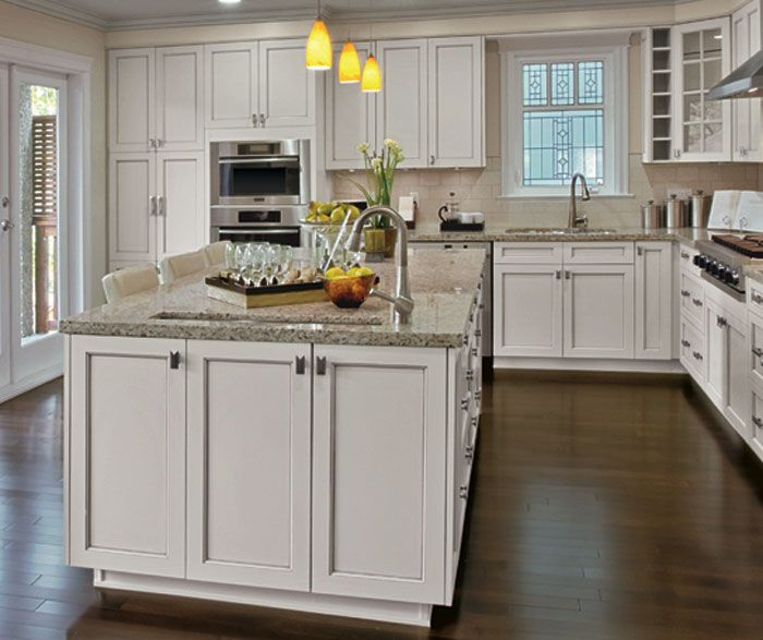 Painted Kitchen Cabinets In Alabaster Finish With Pewter