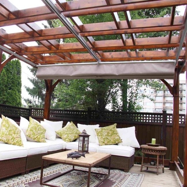 Extend Your Outdoor Living Season Under This Natural And Inviting Shade  Voila Cedar Pergola With Optional Retractable Canopy Using ShadeFX™  Technology.