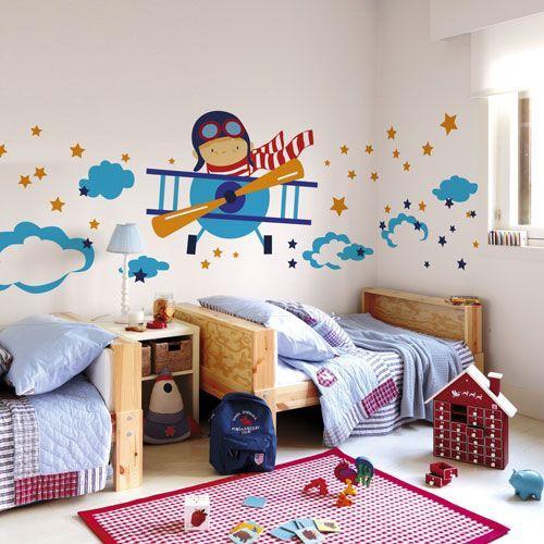 Mural aviador murales dormitorio y cuartos para ni os - Habitaciones infantiles ninos 2 anos ...