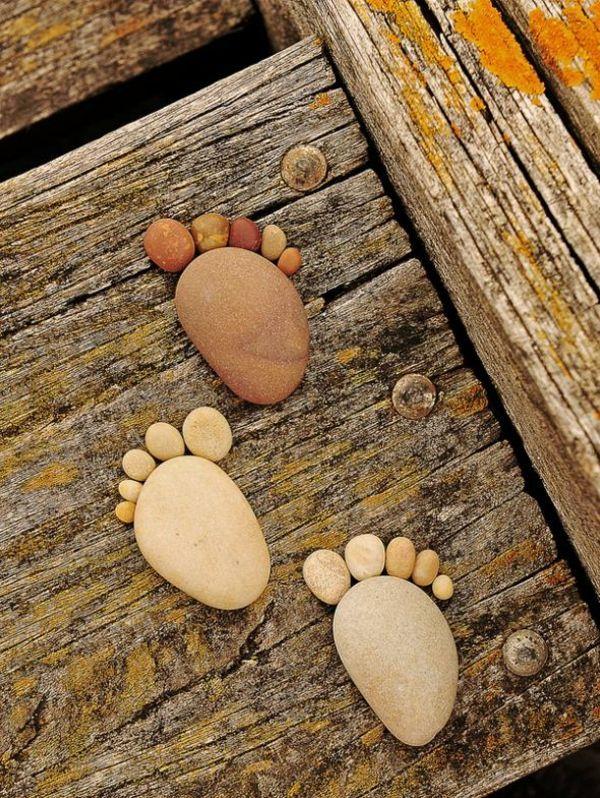 garten gartendekoration steinfüsse sommerdeko basteln Strandgut - gartendekoration aus holz