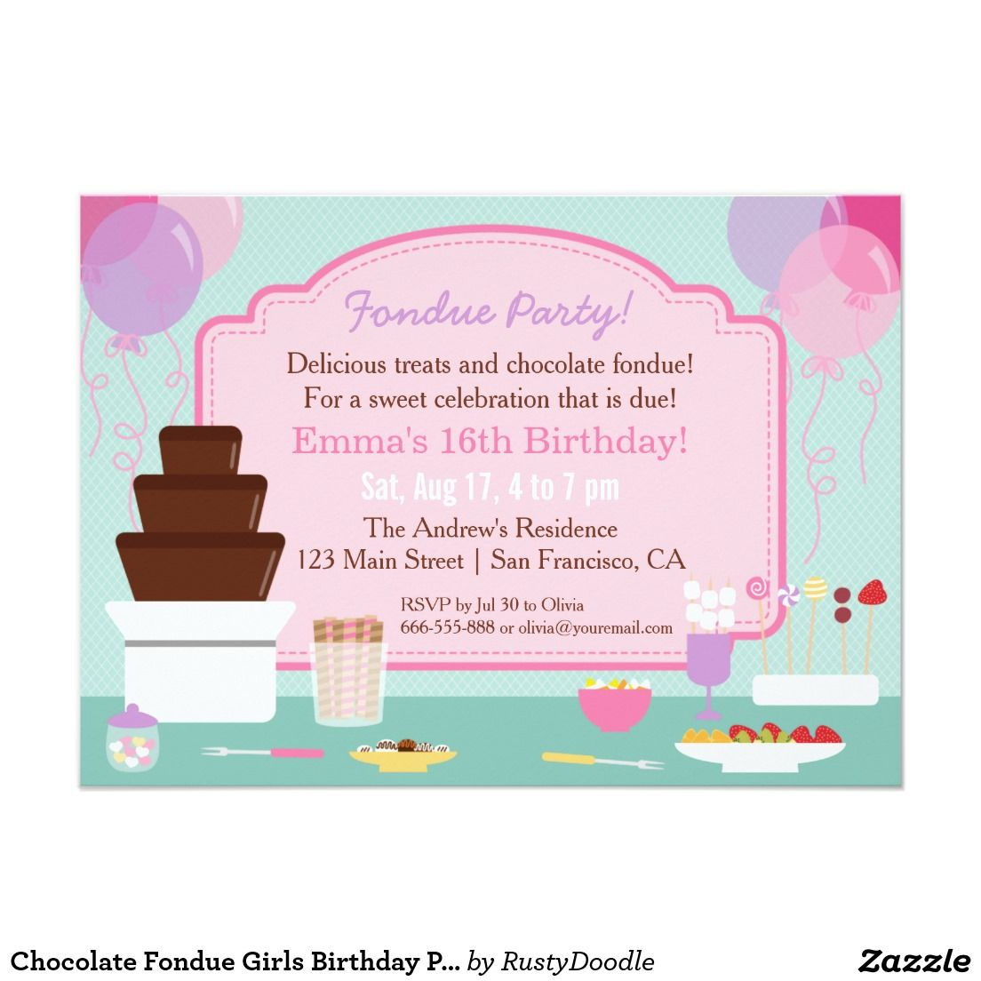 chocolate fondue girls birthday party invitations teens 13 17