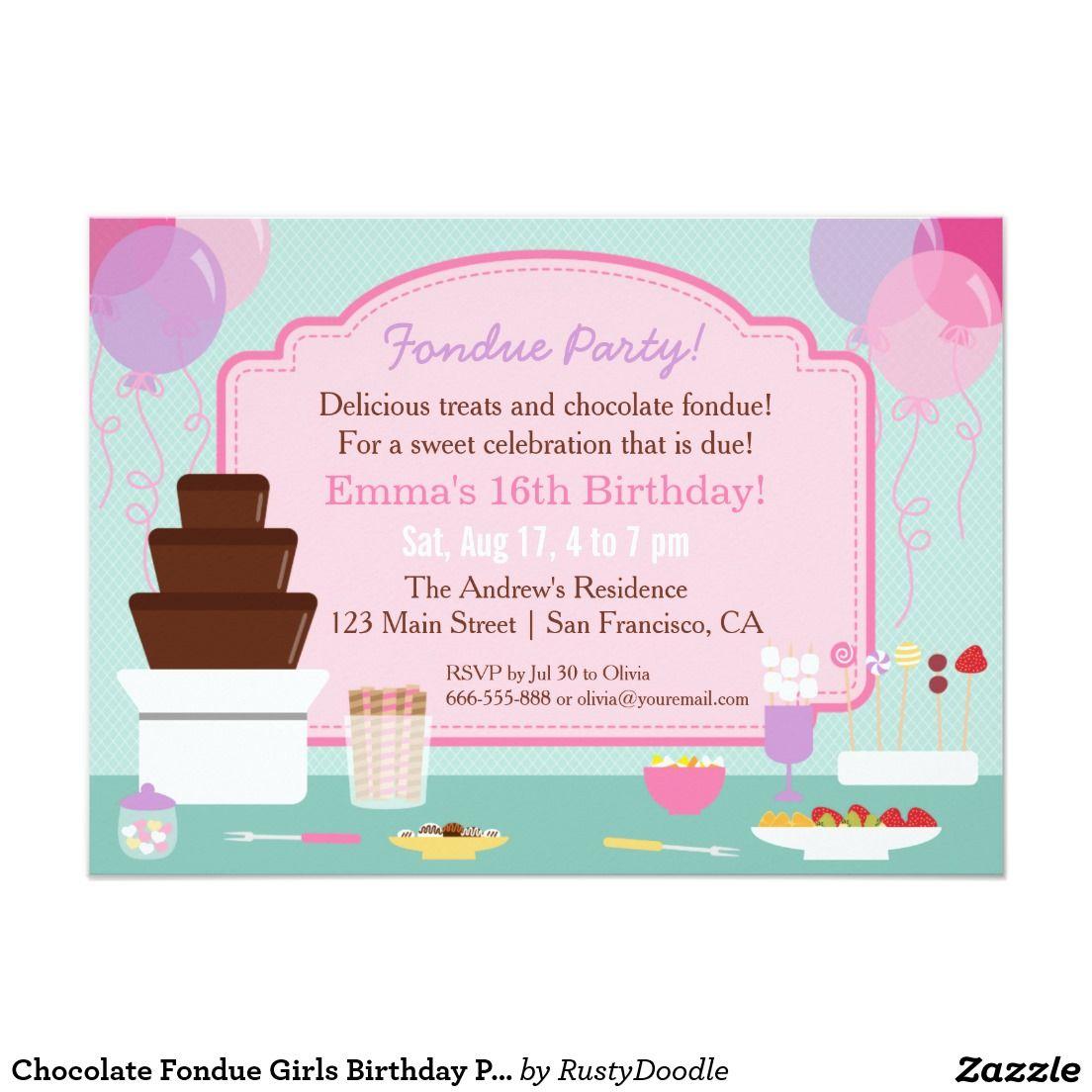 Chocolate Fondue Girls Birthday Party Invitations   Chocolate ...