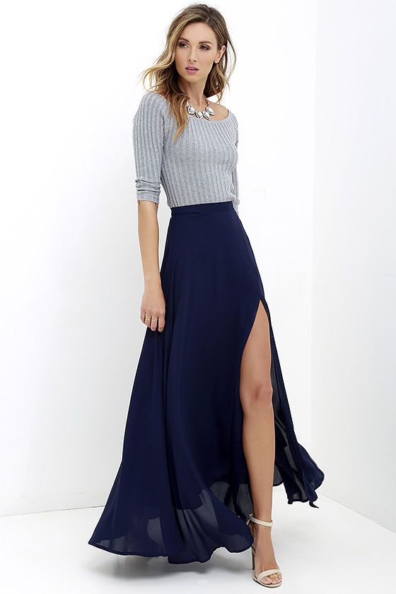 Seaside Soiree Navy Blue Maxi Skirt | Maxis, Clothes and Graduation