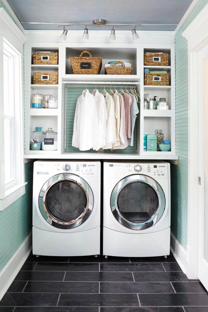des tag res au dessus des machines laver idee. Black Bedroom Furniture Sets. Home Design Ideas