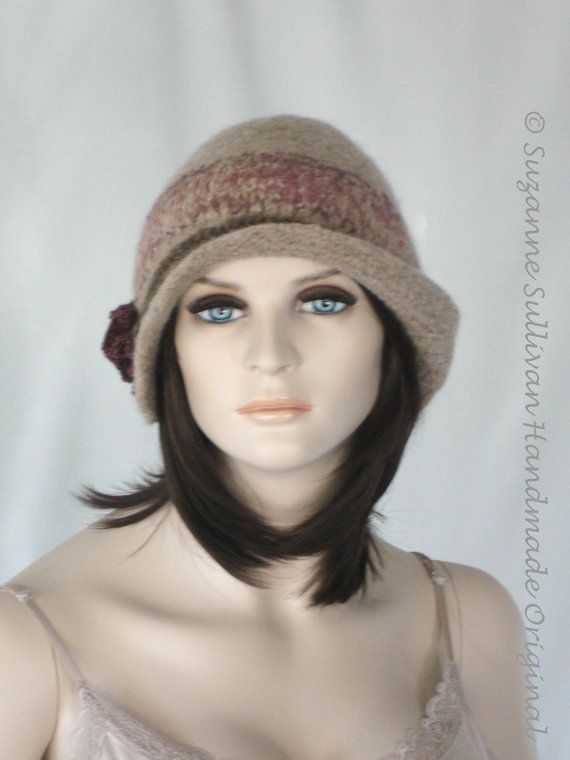 Felt Hat, Hand Knit Felted Hat, Womans Felt Hat with Flower and ...