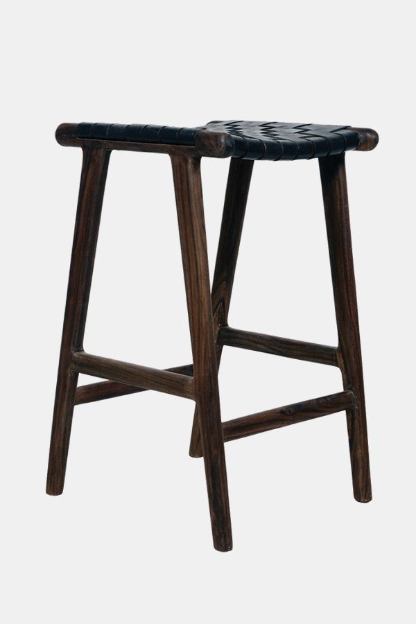 Awesome Leather Strapping Stool Rosewood Black Furniture Gmtry Best Dining Table And Chair Ideas Images Gmtryco