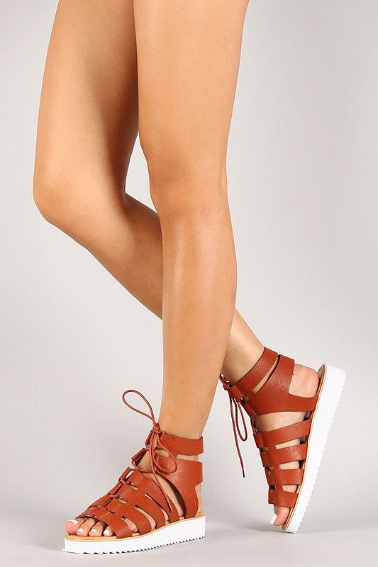 74d47de8364d Bamboo Leatherette Cutout Lace Up Gladiator Flatform Sandal