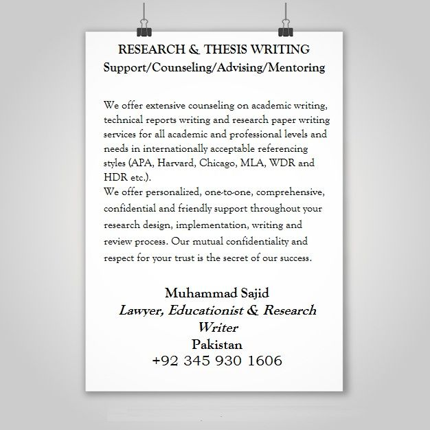RESEARCH & THESIS WRITING Support/Counseling/Advising