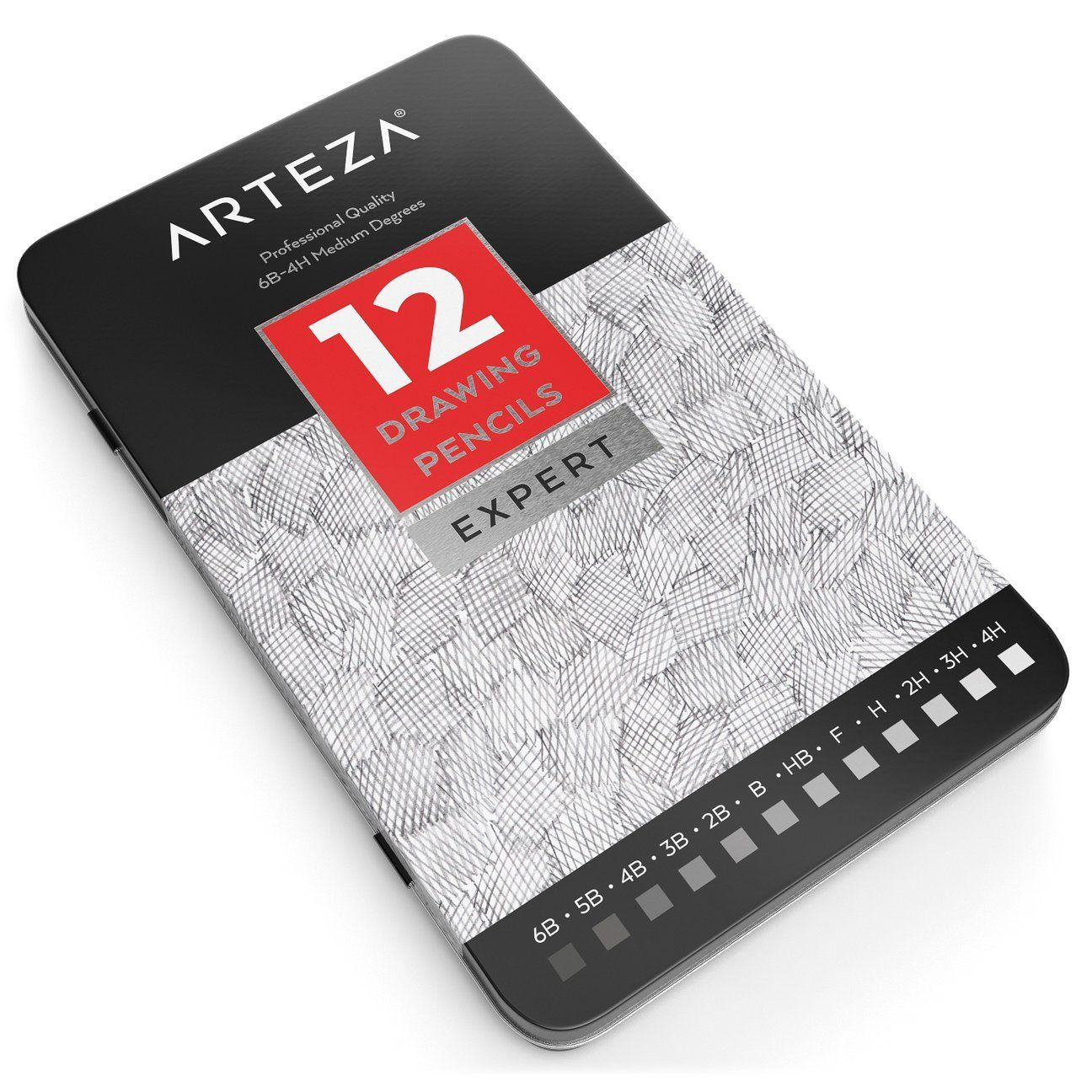 Medium 6B -... Metal Tin Box ARTEZA Professional Drawing Sketch Pencils