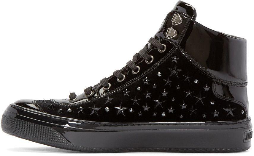 e18f569eb482 Jimmy Choo Black Velvet Stars Argyle High-top Sneakers