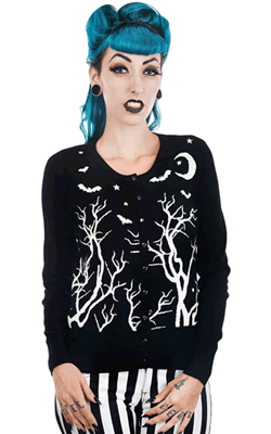 055676bfb Rat Baby Midnight Sky Trees   Bats Knit Gothic Alternative Cardigan ...