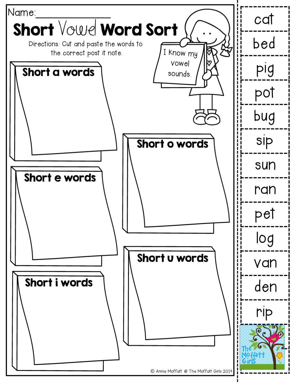 Short Vowel Word Sort Cut And Paste Tons Of Back To School Printables
