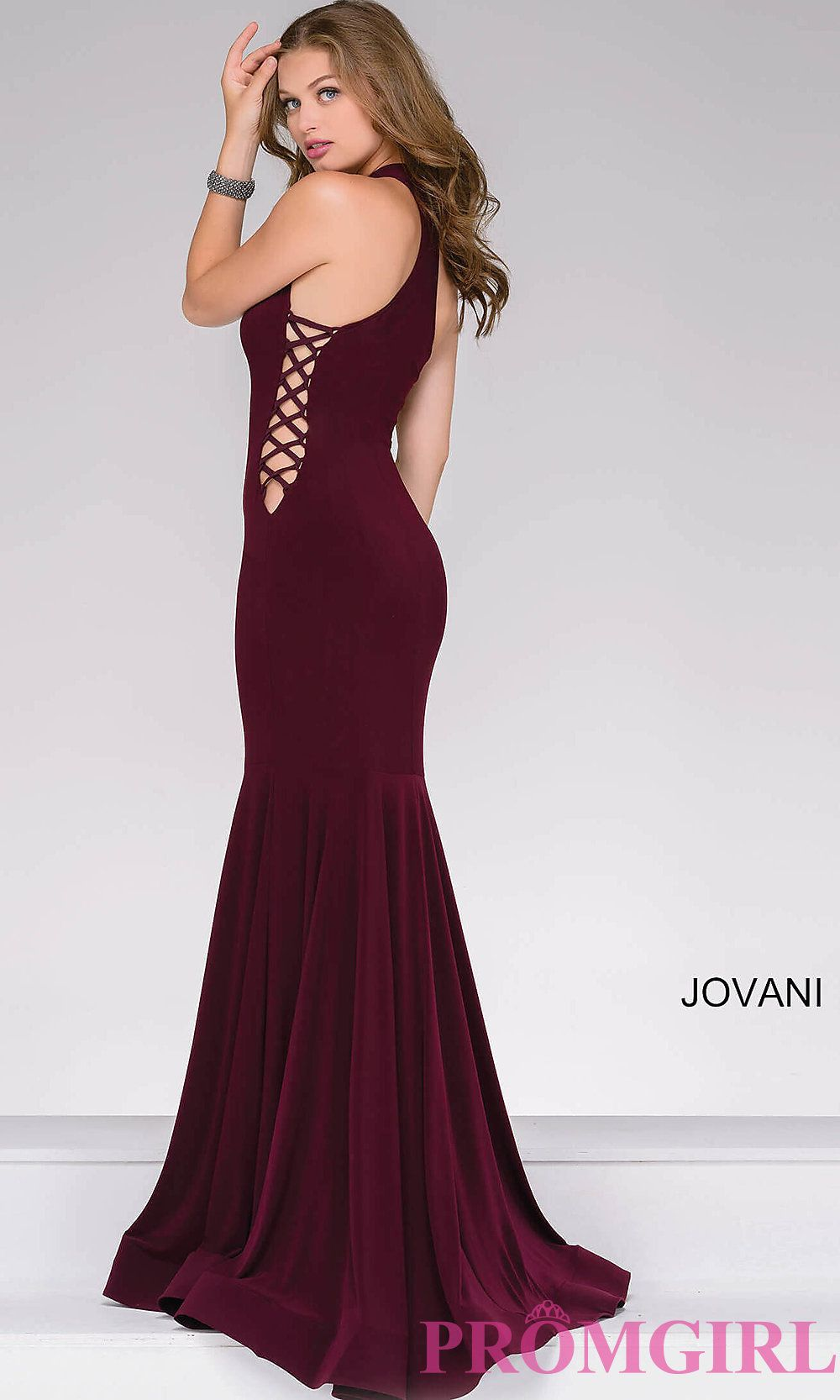 a83fbe12 High-Neck Long Prom Dress with Lace-Up Sides | Prom. | Prom dresses ...