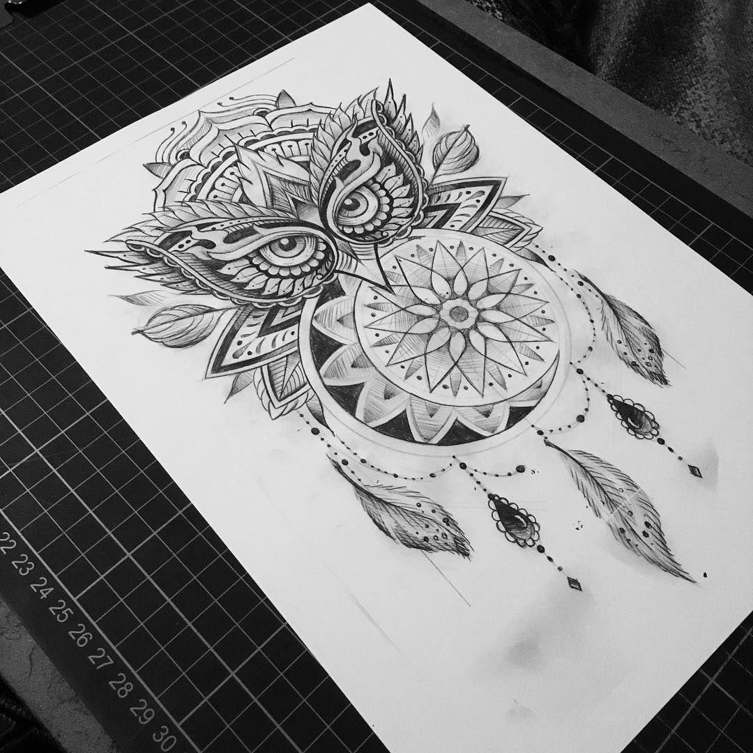 Buho Tatuaje Mandala owldalamooncatcher for tomoz #tattoo #owl #mandala