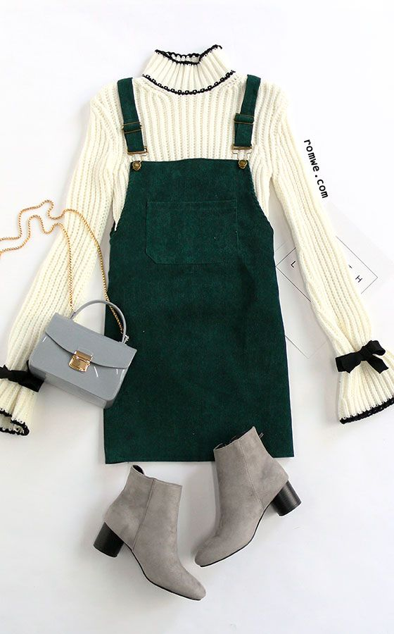 574e088d7872 Dark Green Corduroy Overall Dress With Pocket Overalls Outfit