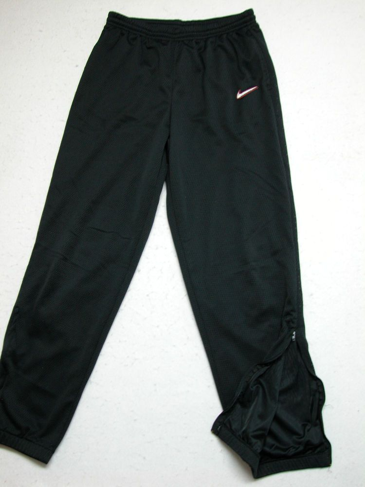 8c4ac9bd0 Nike Black Mesh Lined Warm Up Pants Size M Track w/ Pockets & Zip Ankles # Nike #Pants