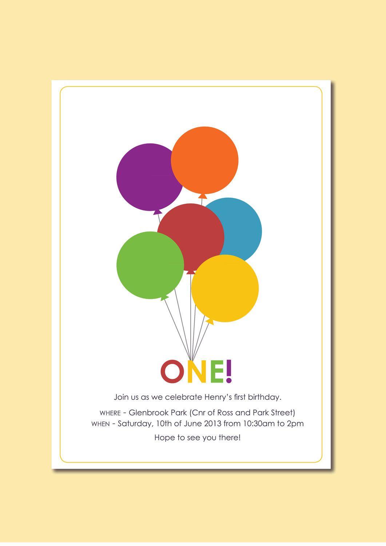 Balloon theme birthday invite | Balloons | Pinterest | Birthdays ...