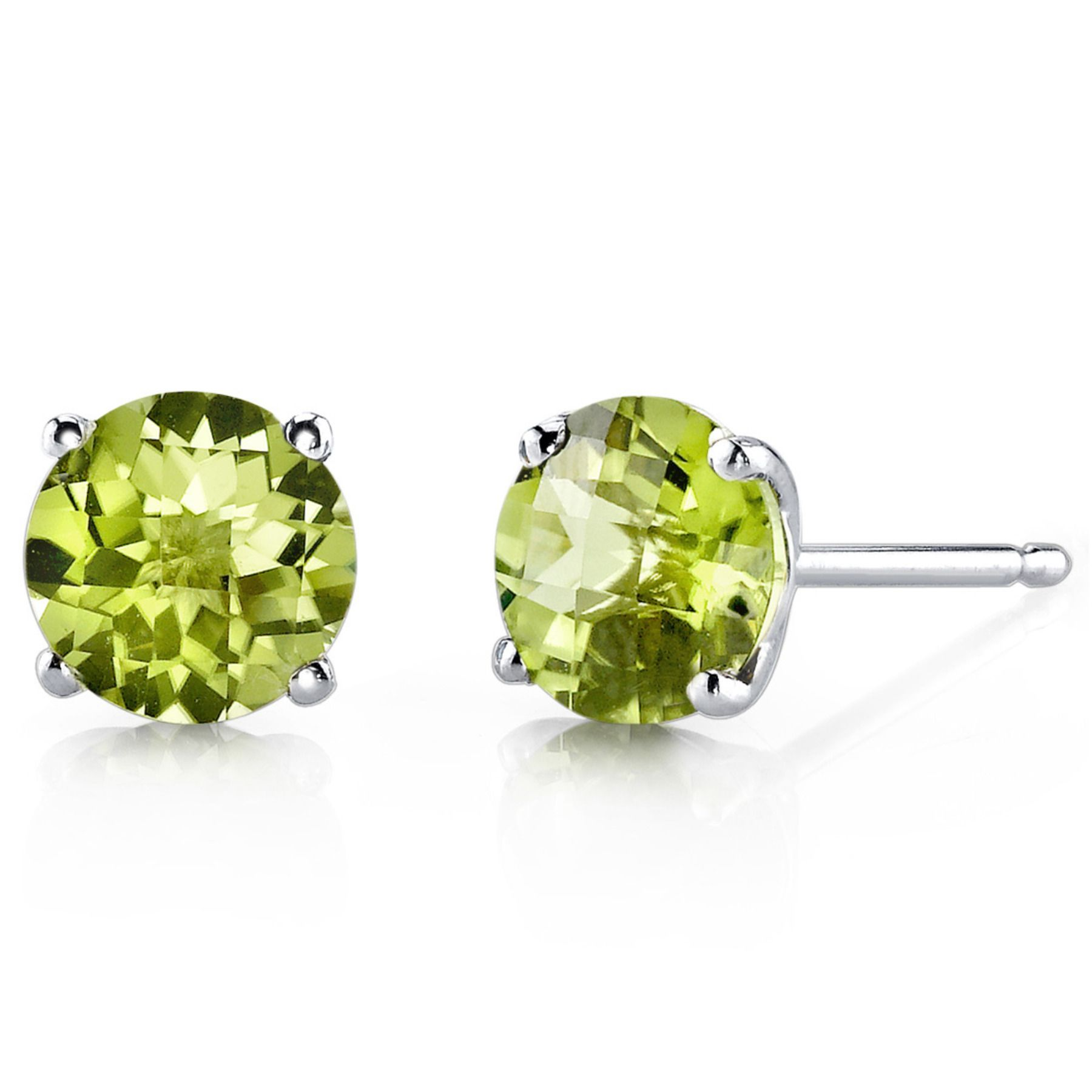 Women S 14k White Gold Round Cut Peridot Stud Earrings