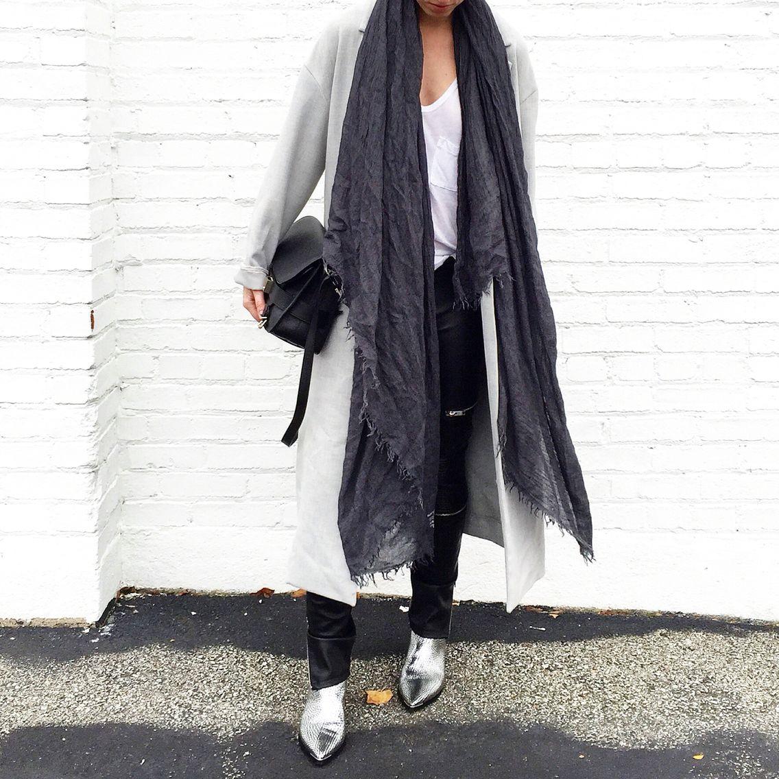 Street Style. COS coat, Isabel Marant Scarf, Zara pants. #streetstyle - OVRSLO