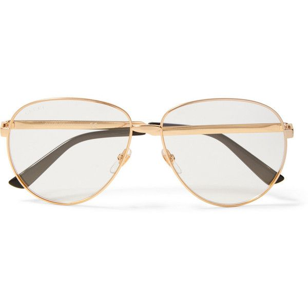 954cac46ed Gucci Oversized aviator-style gold-tone optical glasses ( 360) ❤ liked on Polyvore  featuring accessories