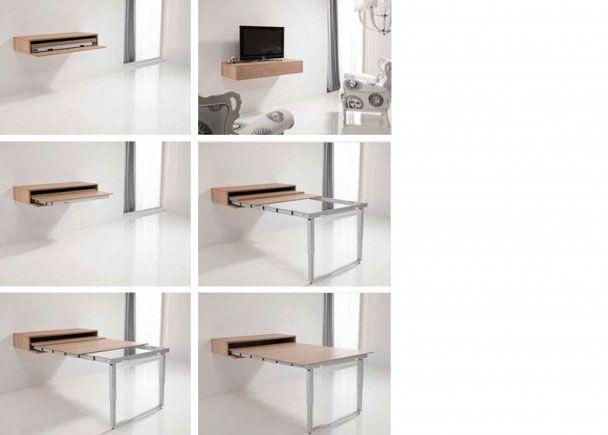 Salón comedor con módulo consola que integra una mesa ...