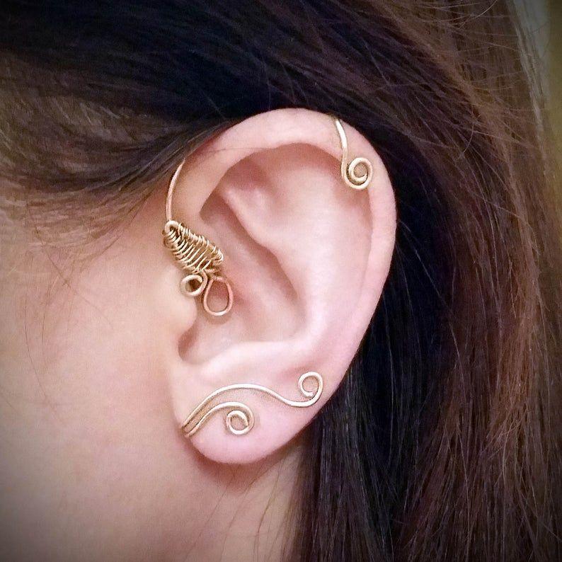 Beauty And The Beast Inspired Ear Cuff Belles Ear Cuff Disney Ear Cuff Ballroom Ear Wrap Beauty And The Beast Ear Vine No Piercing Cuff In 2020 Ear Cuff Belles Ear