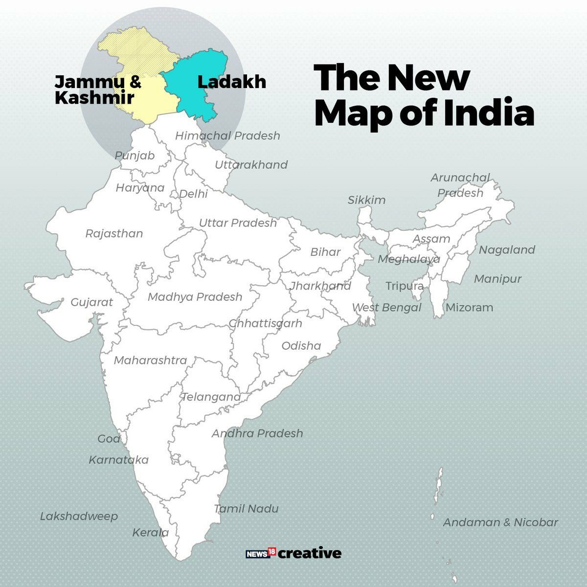 Jammu & Kashmir New Map, India in 2020 States and