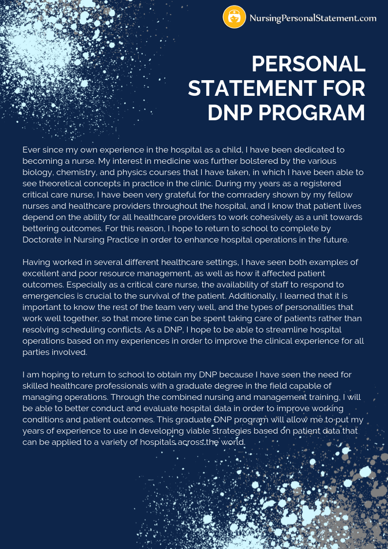Looking for a good personal statement for DNP program sample