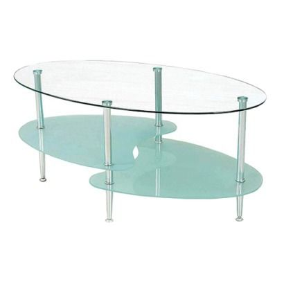 target: oval glass coffee table - clear/ frosted ($120